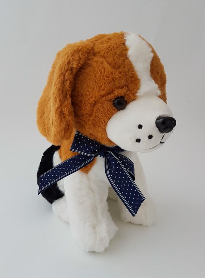 Собака с бантом музыкальная плюшевая детская игрушка
